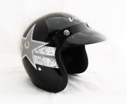 Vega Jet Star Black & Silver Helmet - (SB-060)