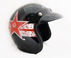 Vega Jet Star Black & Red Helmet - (SB-063)
