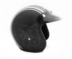 Jet Old School Dull Black With White Strips Helmet - (SB-064)