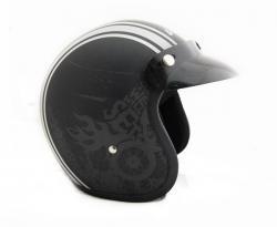 Jet Old School Dull Black With White Strips Helmet - (SB-064)