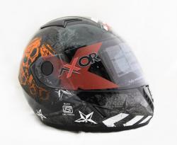Vega Axor Rising Star Dull Black Orange Helmet - (SB-075)
