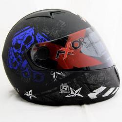 Vega Axor Rising Star Dull Black Metallic Blue Helmet - (SB-076)