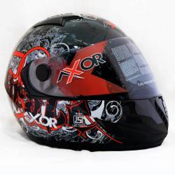 Vega Axor Pirate Dull Black Base Red Graphic Helmet - (SB-077)