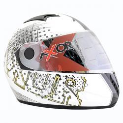 Axor A1 Stunt White Silver Graphic Helmet - (SB-084)