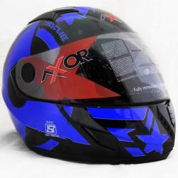 Vega Axor A1 Force Black Metallic Blue Graphic Helmet - (SB-085)