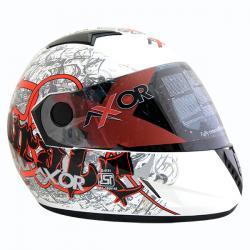 Vega Axor Pirate White Base Red Graphic Helmet - (SB-086)