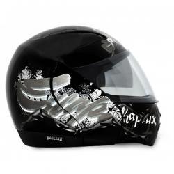 Vega Boolean Escape Black Base With Silver Graphic Helmet - (SB-089)