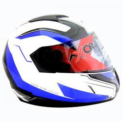 Axor A1 Streamline White Metallic Blue Graphic Helmet - (SB-091)