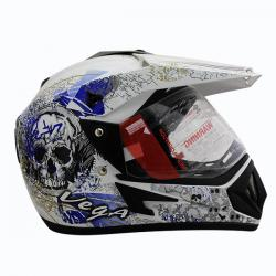 Vega Off Road DV On Road Full Face Helmet White Base With Blue Graphic - (SB-105)