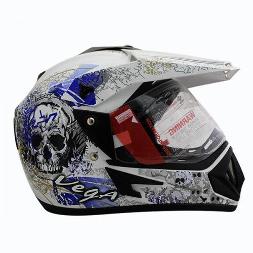 Vega Off Road DV On Road Full Face Helmet White Base With Blue Graphic - (SB-105)