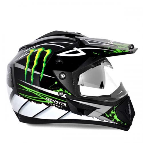 Vega Helmet - Off Road Graphic Monster (Black Base with Green Graphics) - (SB-109)