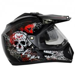 Offroad D/V On Road Black With Red Graphics Helmet - (SB-111)