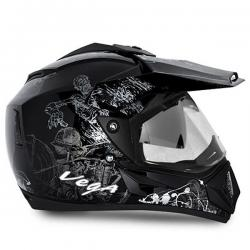 Vega Helmet - Off Road Sketched (Black Base With Silver Graphics) - (SB-113)