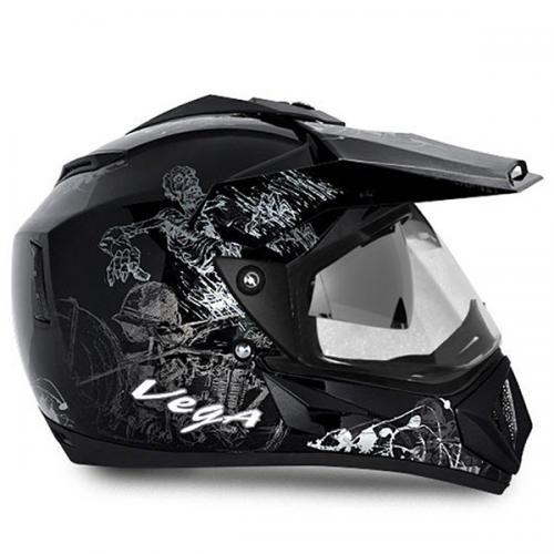 Vega Helmet - Off Road Sketched (Black Base With Silver Graphics) - (SB-113)