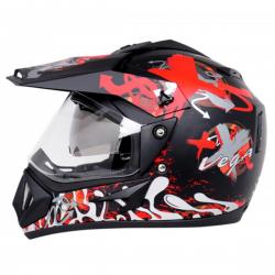 Vega Off Road Shocker Dull Black Red Helmet - (SB-114)