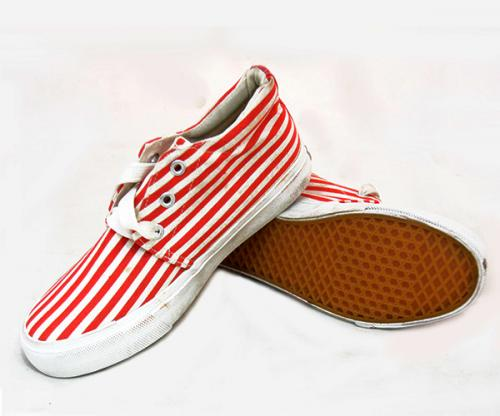 Red White Striped Converse Shoes - (SB-148)