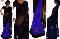 GEORGETTE SAREE WITH VELVET BORDER & PATCH(blouse piev