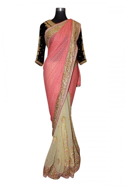Pink Yellow With Golden Dot Saree - (AE-026)