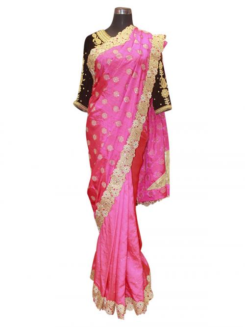 Bright Pink Silk Saree - (AE-035)