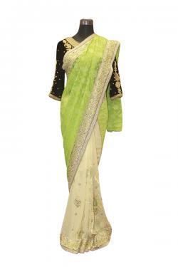 Light Green Indian Brasso Saree - (AE-036)