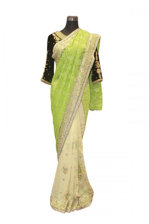 Light Green Indian Brasso Saree - (AE-036)