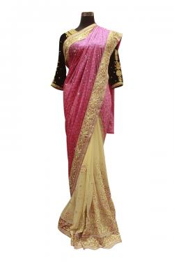 Light Pink & Yellow Mix Indian Brasso Saree - (AE-037)