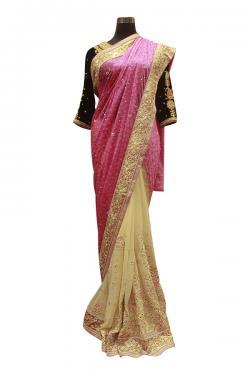 Light Pink & Yellow Mix Indian Brasso Saree - (AE-037)