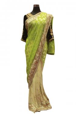 Light Green Indian Brasso Saree - (AE-038)