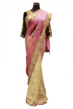 Pink & Yellow Mix Saree - (AE-039)