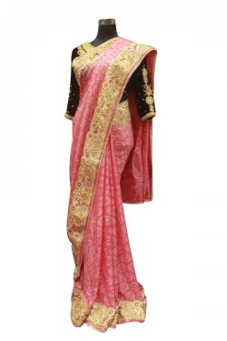 Pink Embroidered Saree - (AE-040)