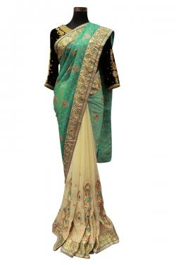 Brasso Chiffon Light Green Saree - (AE-042)