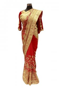 Jarsi Chiffon Red Wedding Saree - (AE-043)