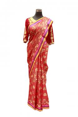 Red Flower Printed Saree - (AE-044)