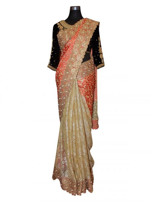 Golden & Orange Mix Designer Saree - (AE-027)