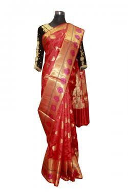 Red Saree With Golden Leaves - (AE-046)