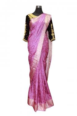Light Purple Saree With Cotton Work - (AE-047)