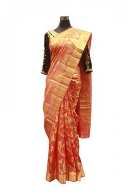 Traditional Orange Pure Silk Saree - (AE-048)
