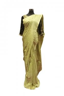 Light Lemon Color Silk Saree For Ladies - (AE-049)