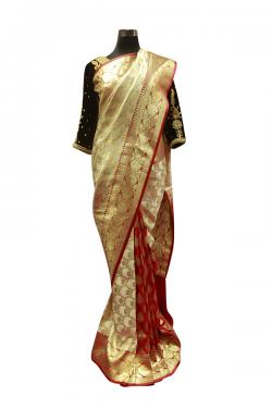 Red & Golden Banarasi Saree - (AE-050)
