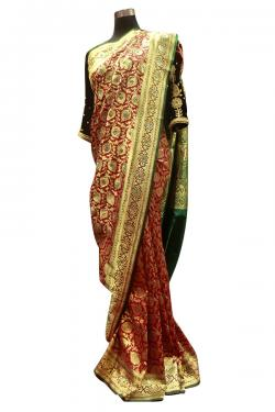 Red & Golden Banarasi Saree With Green Dupatta - (AE-053)