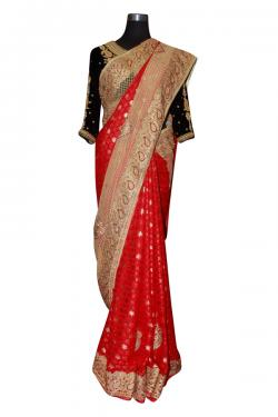 Red Indian Jarsi Chiffon Saree With Golden Border - (AE-028)