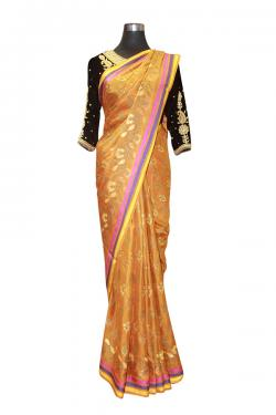 Light Orange Floral Banarasi Saree - (AE-055)