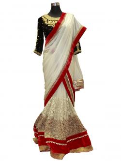 Designer White Lehenga With Red Border - (AE-056)