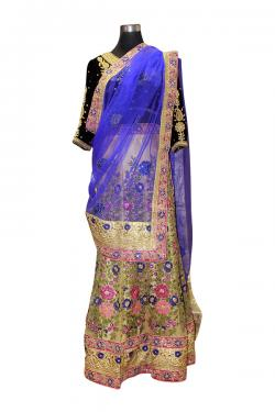 Green Floral Lehenga With Blue Shawl - (AE-057)