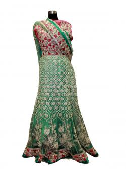 Sea Green Allover Heavy Lehenga - (AE-059)