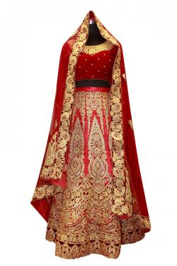 Designer Red Heavy Bridal Lehenga Set - (AE-060)