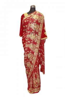 Heavy Handworked French Chiffon Saree - (AE-061)