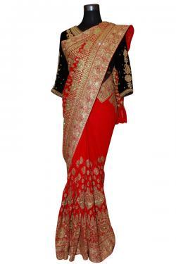 Red Indian Jarsi Chiffon With Glitter Shine Saree - (AE-029)
