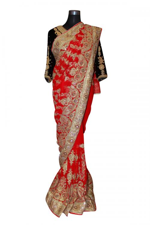 Red Indian Jarsi Chiffon With Golden Glitter & Pearl Embroidered Saree - (AE-030)