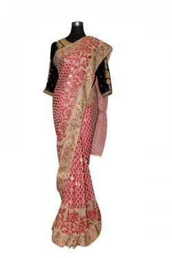 Red Leaf Embroidered Saree - (AE-031)